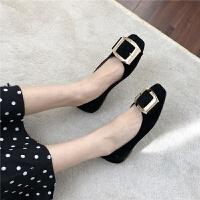 韩版优雅气质款韩国绒炒鸡软的鞋面和鞋底简约金属扣平底鞋单鞋女