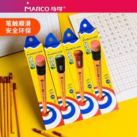 马可儿童小学生文具带橡皮头黄杆原木书写铅笔HB2B书写六角杆铅笔12支2比铅笔小学生