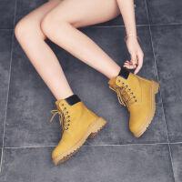 马丁靴子女高帮靴子冬季搭配大衣的鞋子女士小黄靴