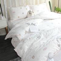 全棉双层纱布卡通四件套婴儿级亲肤纯棉三件套裸睡床上用品