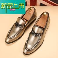 新品上市英伦尖头皮鞋男韩版个性男鞋子金色夜场型师潮鞋银色商务休闲鞋