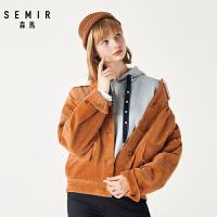 森马冬季新款双口袋灯芯绒翻领夹克短外套女复古港味休闲上衣