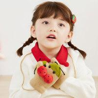 儿童手套 新款儿童针织手套冬季加绒保暖户外束口挂绳卡通可爱全指瓢虫造型手套