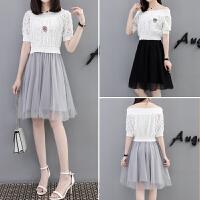 连衣裙 女夏季假两件气质显瘦a字裙中长款网纱裙子