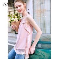 【领券下单立减130元】Amii极简欧货大版性感白色仙女T恤2019夏季圆领蕾丝绿色短袖上衣