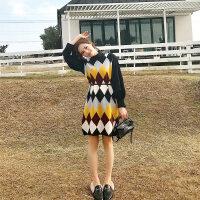 新年特惠针织背心裙女秋冬连衣裙两件套装洋气法国小众复古法式桔梗马甲裙 连衣裙两件套