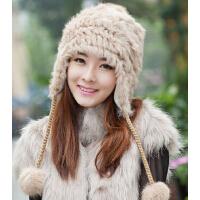 新款时尚女 韩版 潮 可爱 兔毛帽针织毛线帽皮草帽子