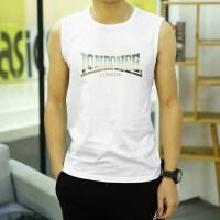 新款纯棉无袖T恤男宽松运动跑步背心薄款透气宽肩坎肩男士汗衫潮 白色 OND