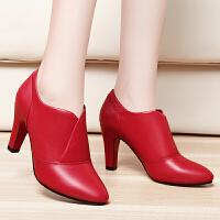 深口单鞋女尖头新款高跟鞋细跟欧洲站时尚英伦潮流女鞋子