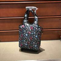 18寸可拉可提可折叠拉杆包印花防水万向轮购物袋短途旅行袋拉杆箱 中