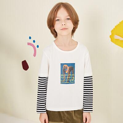 【2件88/3件8折后到手价:127.2元】马拉丁童装男童T恤秋装新款时尚印花洋气条纹假两件长袖T恤 2件88/3件8折专区 叠加优惠券