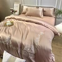 欧式刺绣全棉四件套纯棉床单贡缎被罩冰丝绸被套简约1.8m床上用品 优雅咖 YHG爱丽丝