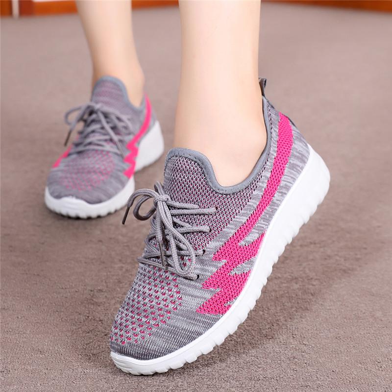 女鞋单鞋秋季中老年休闲妈妈鞋透气软底时尚系带运动鞋