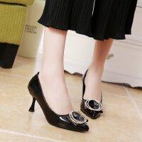 单鞋女小清新浅口蝴蝶结中跟少女尖头黑色工作皮鞋职场细跟高跟鞋