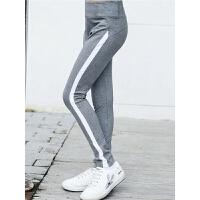 女童裤子春秋款儿童女大童运动裤跑步长裤女孩黑色外穿高腰打底裤