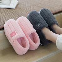 毛绒棉拖鞋男包跟冬季室内防滑厚底居家用毛毛拖鞋保暖棉鞋女月子