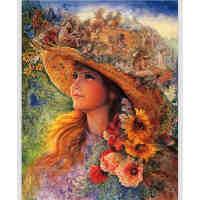 1000片木质拼图定制500名画创意油画 女孩的帽子