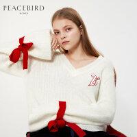 白色V领毛衣春装装新款短款露背绑带针织打底衫直筒长袖套头