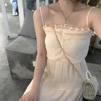 新款连衣裙 2019春夏装木耳边褶皱纯色吊带裙蛋糕裙连衣裙中长裙女 杏色 均码