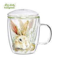 爱屋格林花茶杯泡茶杯高耐热玻璃杯创意居家欧式双层立体水杯子