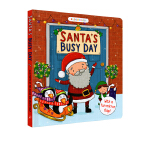 圣诞节绘本 英文原版3 6岁 Santa's Busy Day 圣诞老人忙碌的一天 纸板书 圣诞节绘本 儿童英语启蒙图