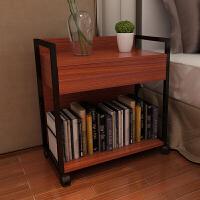 移动钢木小书架抽屉置物架创意边桌书架简易落地带轮书柜办公家具