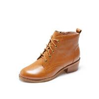爱旅儿哈森旗下简约系带中跟粗跟帅气马丁女短靴EA78201