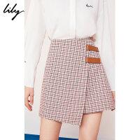 【2件4折到手价:119.6元】 Lily春新款女装格纹不对称裙裤A字修身休闲短裤119120C5202