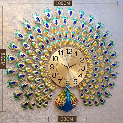 钟表挂钟客厅个性创意时尚孔雀挂表现代简约大气时钟家用石英钟圆 定制吉祥孔雀开屏【100cm*85cm】 20英寸以上