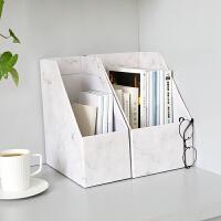 ins北欧风大理石 寝室桌面整理盒 纸质收纳盒 学生书桌收纳架书立