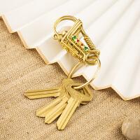 创意黄铜手工钥匙扣钥匙链挂件创意汽车男士腰挂不锈钢钥匙圈环