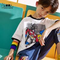 【2件3折:34.5元】小虎宝儿男童纯棉短袖t恤中大童儿童上衣夏季2021新款潮牌