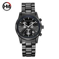 新款黑色钢带手表三眼仿六针运动商务休闲日历石英腕表男手表 白银