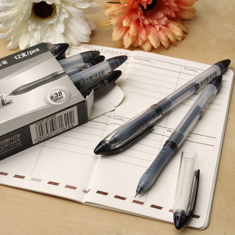 晨光中性笔全针管0.38mm黑色灵智学习办公水笔(12支/盒)