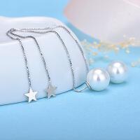 s925银耳钉 长款流苏气质珍珠耳线 韩版星星耳环 简约个性送女友 五角星耳线