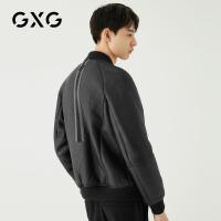 GXG男装 冬季男士时尚韩版潮流机车风黑色棒球领皮衣夹克外套男
