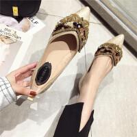 鞋子女新款2019时尚韩版尖头浅口软底闪闪亮片玻璃胶透明百搭单鞋