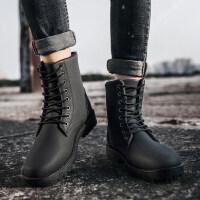马丁靴英伦韩版纯黑工装靴保暖青年棉靴2018新款秋冬季全黑色加绒