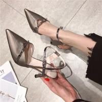 高跟鞋女鞋2019春季新款时尚尖头浅口细跟一字扣带气质优雅高跟鞋