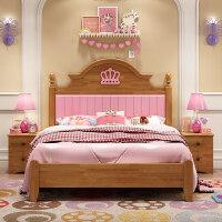 【支持礼品卡】全实木儿童床女孩男孩公主床1.2米1.5米单人床欧式家具组合套房3rf