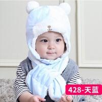 婴儿帽子冬季0-3-6-12个月羊羔绒护耳帽男女宝宝帽子小熊雷锋帽 帽子加围巾