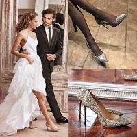 水晶新娘婚鞋女2018新款秋季伴娘婚纱鞋细跟高跟鞋女尖头银色单鞋