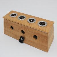 益养天年竹制四孔艾灸盒4孔温灸器四眼艾炙器多孔艾条盒随身灸 多孔温灸盒