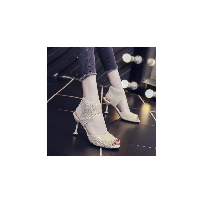 高跟网面透气鱼嘴凉鞋女户外时尚百搭仙女风性感细跟女鞋