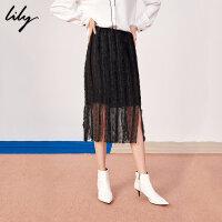 Lily春新款女装黑色蕾丝花边开叉铅笔裙中长裙半身裙6905
