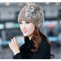 纯手工羊毛针织帽   帽子女   韩版潮毛线帽   韩国时尚女士兔毛皮草冬帽