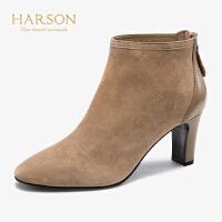 哈森2019秋冬新款简约圆头高跟踝靴 正装羊反绒时装靴HA96410