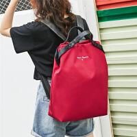 双肩包女新款韩版简约时尚大学生书包百搭轻便14寸女士电脑包