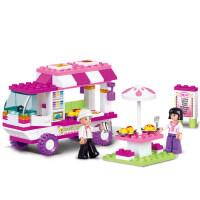 小鲁班积木女孩拼装快餐车拼插玩具儿童益智早教过家家情景搭建