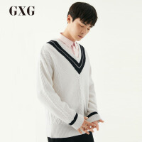 【GXG过年不打烊】GXG男装   春季男士时尚休闲韩版白色低领黑白撞色V领毛衫男